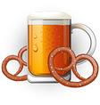Mug of beer with pretzels oktoberfest vector