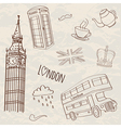 Set of hand-drawn london symbols vector