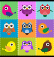 Colorful patchwork background with owls and birds vector