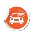 Car with basket icon orange label vector