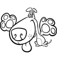 Cute dog cartoon for coloring book vector