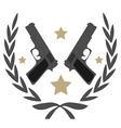 2 pistols and stars in laurel wreath emblem vector