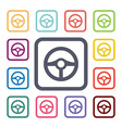 Wheel flat icons set vector