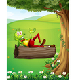 A frog relaxing above the trunk under the tree vector