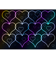 Dark background and shining hearts vector
