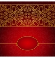 Abstract gold and red invitation frame vector