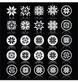 Pixelated snowflakes christmas white icons on bla vector