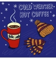 Colorful sketch background for a winter coffee vector