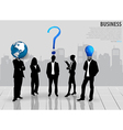 Business people silhouettes with building vector