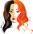 A girl blondes and brunettes in one person vector