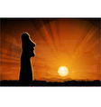 Easter island statue moai in the beams of sun vector