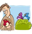 Bird in the hand cartoon vector