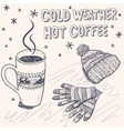 Sketch background for a winter coffee vector