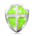 Glossy magic green shield icon vector