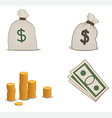 Coins moneybags and greenbacks vector
