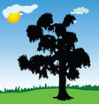 Tree black silhouette in the park vector
