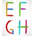 Colorful alphabet of pencils e f g h vector