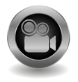 Metallic video camera button vector