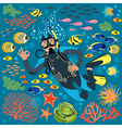 Diver with underwater plants and fishes set vector
