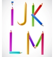 Colorful alphabet of pencils i j k l m vector