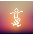 Man skateboarding thin line icon vector