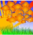 Cartoon nature sun clouds grass vector