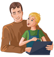 Father and boy working with laptop vector