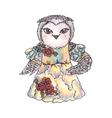 Cute owl in a dress watercolor vector
