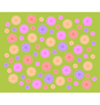 Green grass background and color flowers vector
