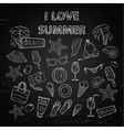 Scrap set i love summer on blackboard vector