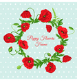 Vintage card - with poppy flowers frame vector