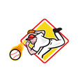 Baseball pitcher throwing fire ball diamond vector