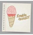 Doodle ice cream cone dessert vector