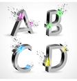 3d shiny explosion alphabet vector