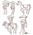Simple sketches of a cowboy vector