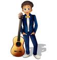 A boy standing beside the guitar vector