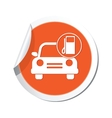 Car with gas station icon orange label vector