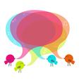 Birds with colorful speech bubble vector