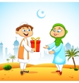 People presenting gift to celebrate eid vector