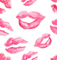 Seamless pattern with a lipstick kiss prints vector