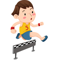 A boy jumping hurdle isolated on w vector
