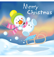 Funny snowman sledding vector