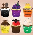 Halloween cupcakes set vector