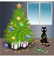 Naughty cat and christmas tree vector