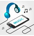 Music player headphones seamless vector
