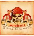 Skull on vintage motorcycle background vector