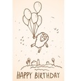 Happy birthday card funny sheep with balloons vector