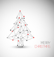 Card with abstract christmas tree made from lines vector