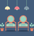 Flat design interior vintage chairs vector