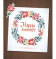 Watercolor floral wreath with paper cut flower vector